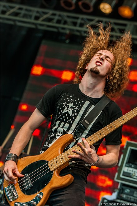 Drew Cushing, bassist of Adelitas Way at Mayhem on the Mountain 2014.
