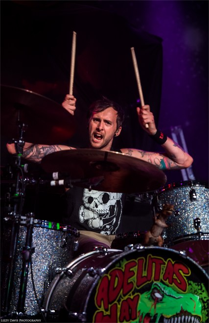 Adelitas Way drummer Trevor Stafford at The Fillmore in Charlotte, NC.