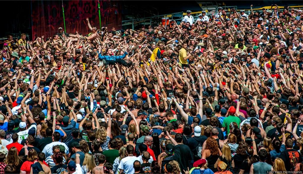 Adelitas Way vocalist Rick DeJesus crowd surfing at Rock on the Range 2014.