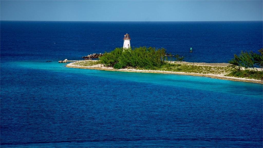 Hog Island Lighthouse view from port in Nassua, Bahamas. Photo by Trevor Williams.