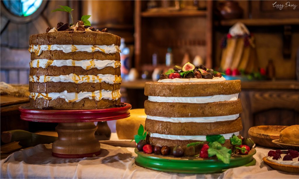 Beautiful rustic but sadly fake cakes inside The Green Dragon Inn.