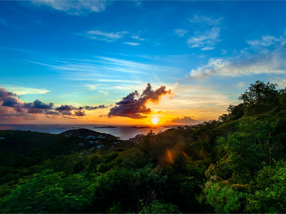 Sunset photo from St. John, US Virgin Islands.