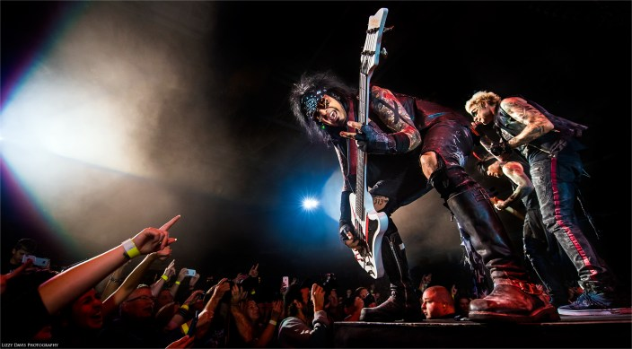 Captivating photo of Nikki Sixx, bassist of SIXX:A.M. and Motley Crue.