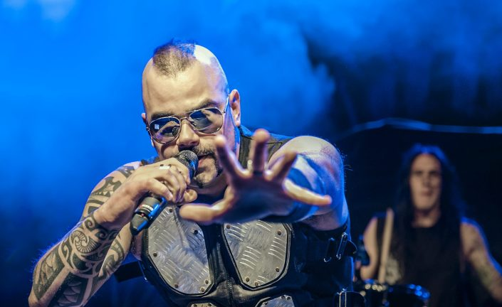 Sabaton vocalist Joakim Broden at The Fillmore in Charlotte, NC. Photo by Lizzy Davis.