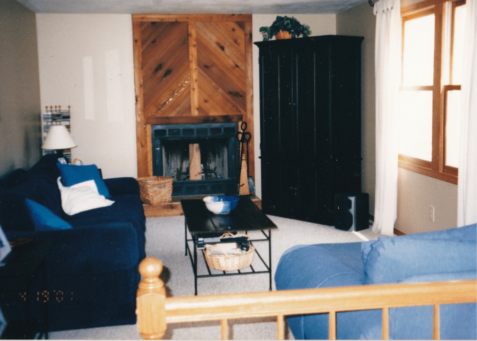 The fireplace and the family room around 20 years ago.