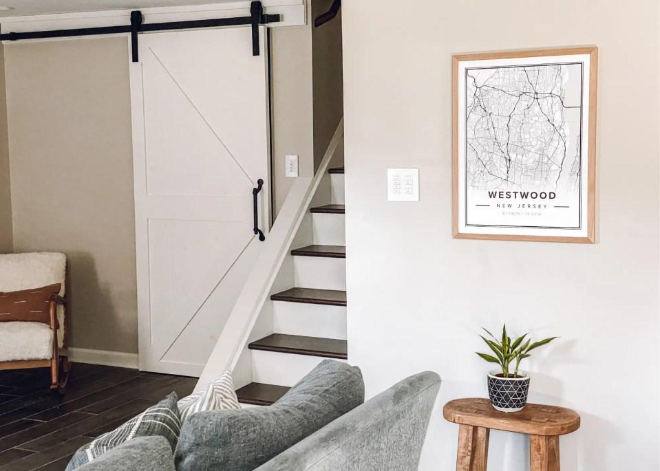 You won't regret adding a barn door when finishing a basement.