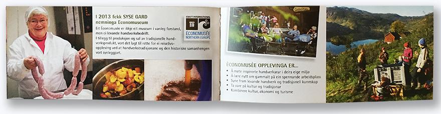 Syse Gard, brosjyre. Side om lokalmatproduksjon, eco-museum og opplevingar
