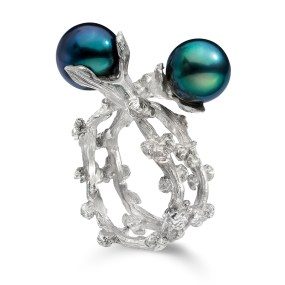Silver Pearl Ring Palm Berries series with cultured Tahitian Pearls- LJD Jewelry Designs by Laura Jackowski-Dickson