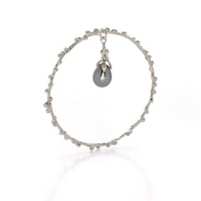 Silver Palm Berries Bangle with Pearl Charm- LJD jewelry designs by Laura Jackowski-Dickson
