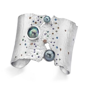 Silver Cuff Pearl Sunset Torn Between series- LJD jewelry designs by Laura Jackowski-Dickson