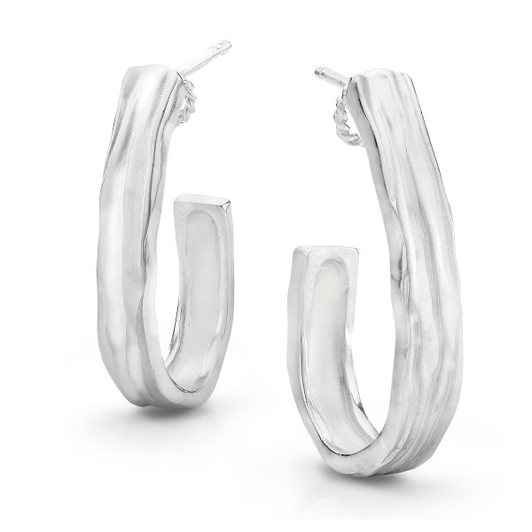 Silver J Hoop Earrings Waterfall series- LJD jewelry designs by Laura Jackowski-Dickson