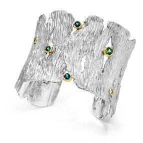 Silver-Gold Seagrass Cuff Tourmalines - LJD jewelry designs by Laura Jackowski-Dickson