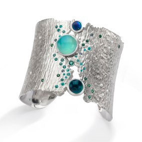 Silver Cuff Oceania Torn Between series- LJD jewelry designs by Laura Jackowski-Dickson