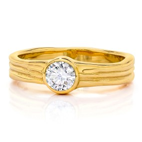 Gold Wedding Engagement Ring with White Diamond-LJDjewelrydesigns by Laura Jackowski-Dickson