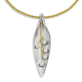 Silver and Gold Pearl Leaf Pendant with cultured fresh water pearls- LJDdesignsbyLaurajackowski-Dickson