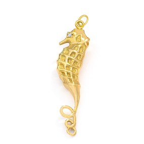 Gold Seahorse Charm with diamond- LJD Jewelry Designs by Laura Jackowski-Dickson