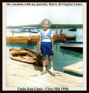 LINDA LIMES - STANDING ON DOCK WITH BOATS BEHIND - COLORIZED - WITH TEXT & FRAME
