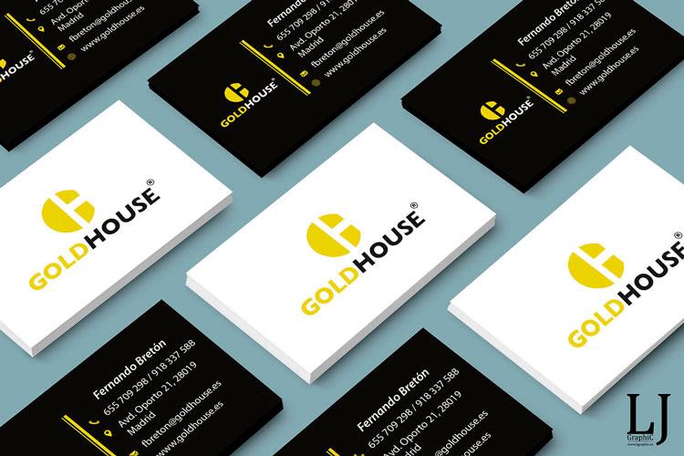 Diseño e impresión de tarjetas de visita Gold House