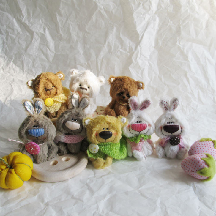Юлия Овцына, 27konfet, маленькие медведи, зайцы, валяные глазастые чудики, ёжики