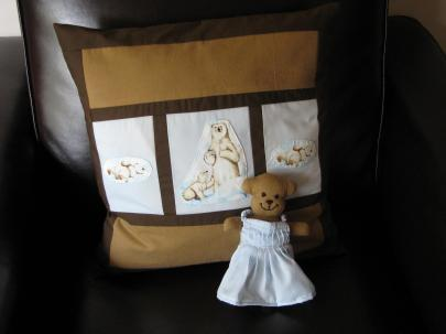 Creations - pillow and bear in dress