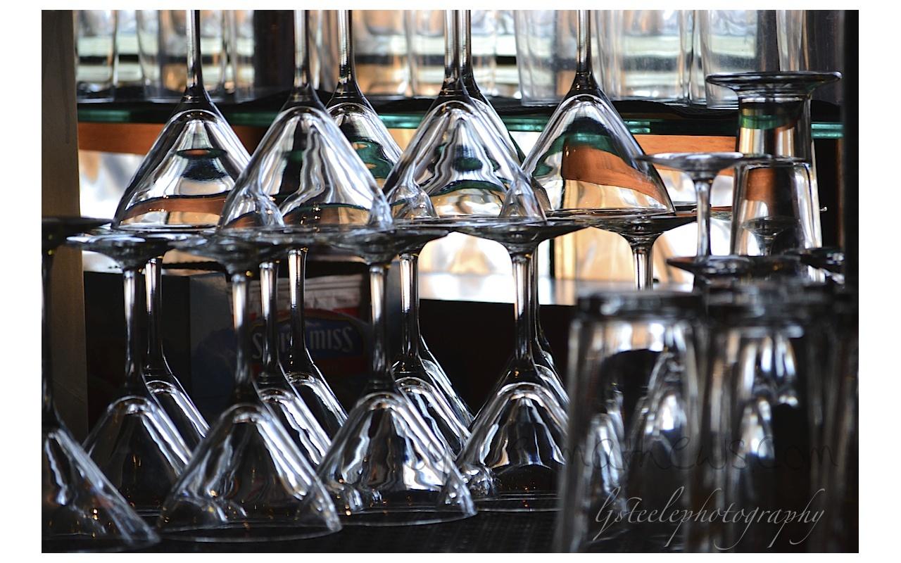 glasses, colorful reflections, pub