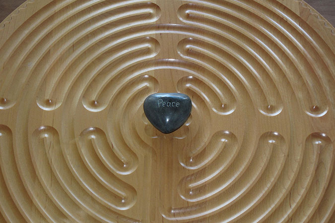 Finger Labyrinth with Peace Heart Stone