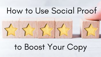 how to use social proof to boost your copy image of 5 blocks in a line with a yellow star on each