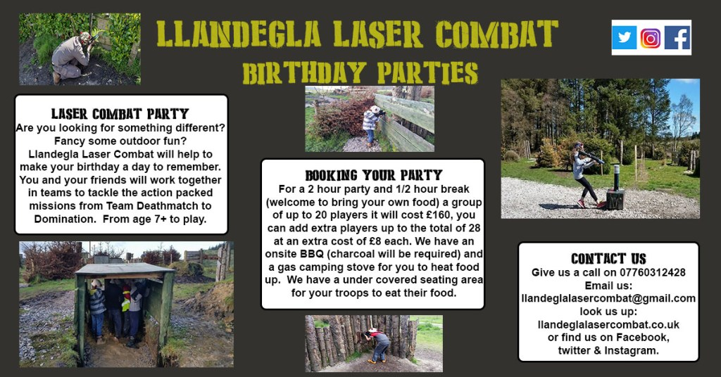 Llandegla Laser Combat Party. ll;andeglalasercombat.co.uk