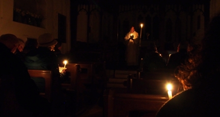 Easter Vigil service by candlelight