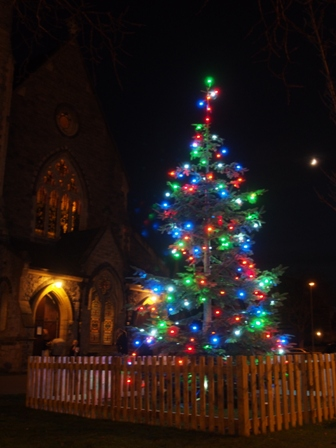 Christmas tree in Holy Trinity's grounds