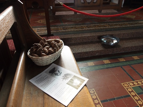 Pine cone prayers at St. Tudno's Church