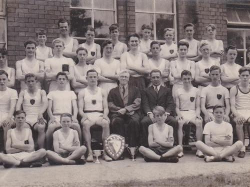 1947 Llanelli Boys' Grammar School Athletic Team. Provided by Tom Morgan,(back row,4th from left ) who entered the school 1944.