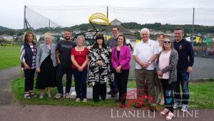 Rural Council unveils cyclist sculpture at Pwll