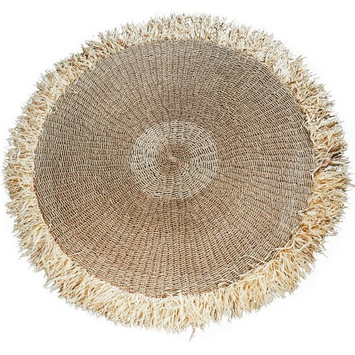 tapis rond fibre de raphia naturel 150cm