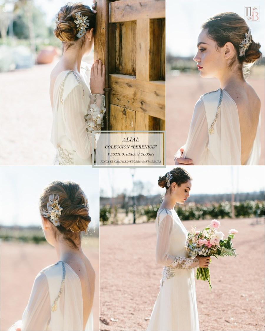Berenice,la última colección deAlial.Vestido de novia de Beb´s Closet. Finca el Campillo. Flores Savia Bruta.