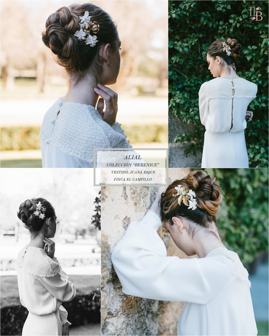 Berenice,la última colección deAlial.Vestido de novia de Juana Rique. Finca el Campillo. Flores Savia Bruta.