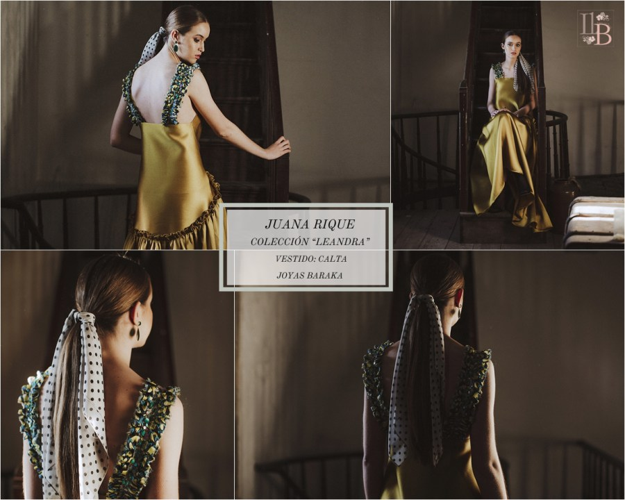 Juana Rique presenta su colección Leandra. Vestido Calta. Joyas Baraka