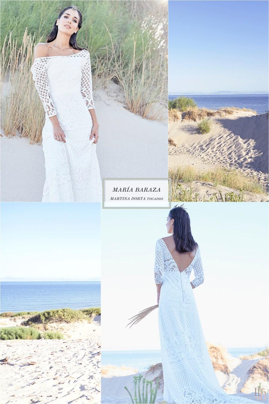 Una novia en Tarifa. Vestidos de novia de María Baraza. Tocados de Martina Dorta.