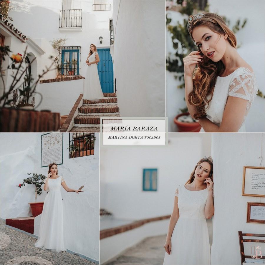 Frigiliana: Vestidos novia María Baraza. Tocados Martina Dorta