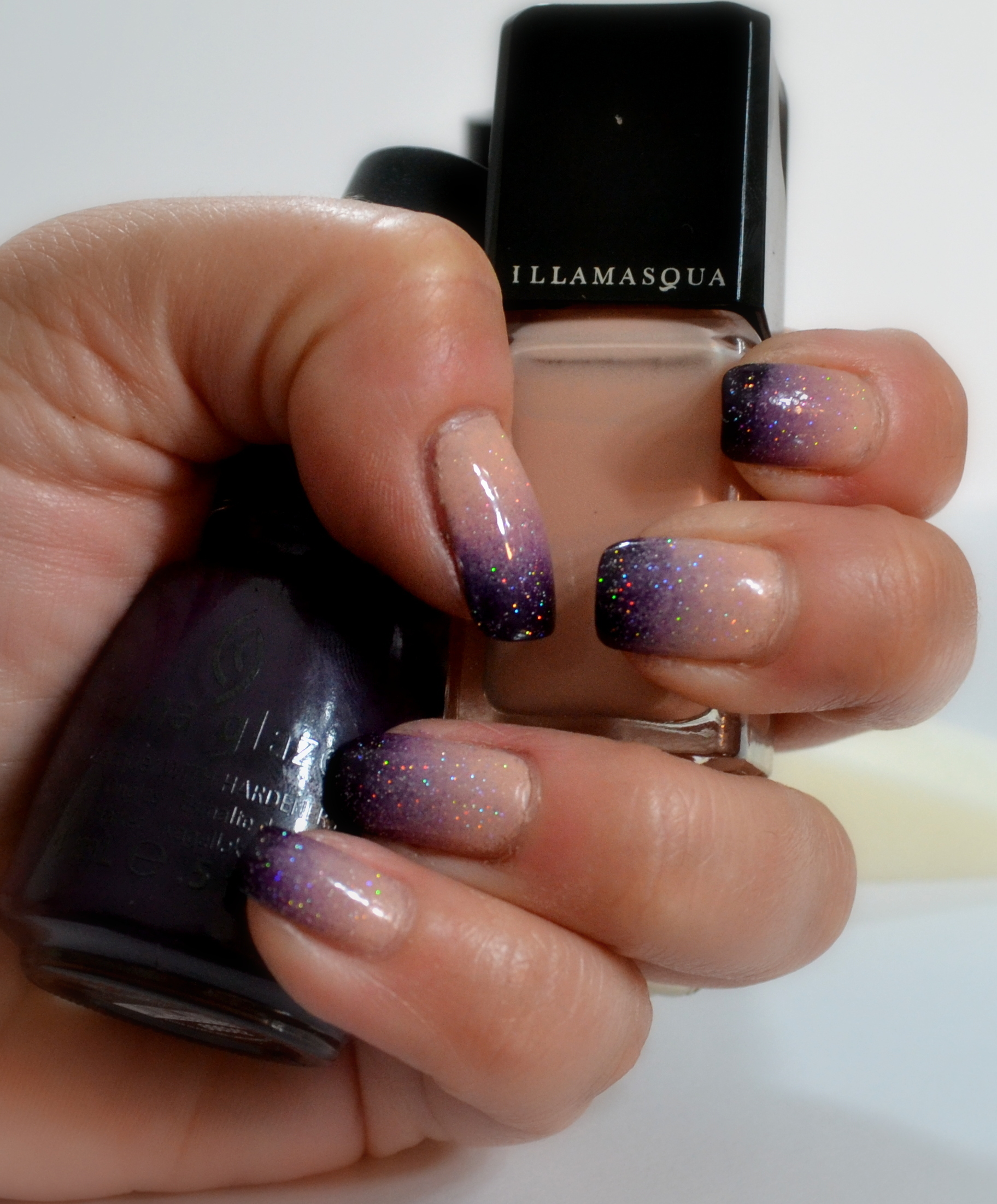 Manicure Ombre Gradient Nude Purple Llewsoba
