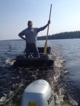 This is what he's dragging behind him. One Argo loaded with Dez. Not sure how the oar is going to help, but it seemed like a good idea at the time. To use the Argo meant it first had to cross Lloyd Lake.