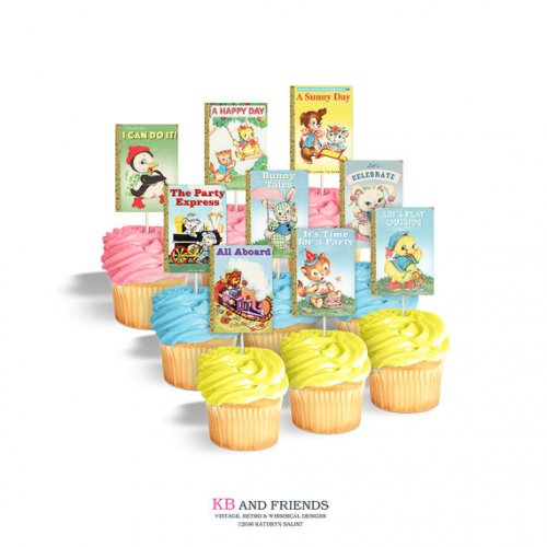 Little Golden Book Baby Shower Cupcakes