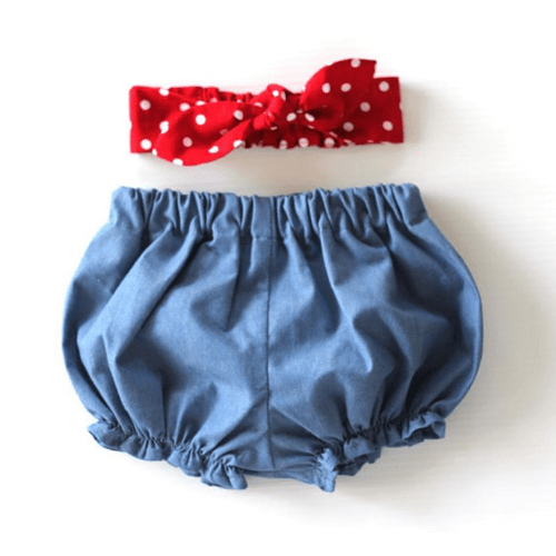 "Chambray ""Tough Girl"" Baby Bloomers Set"