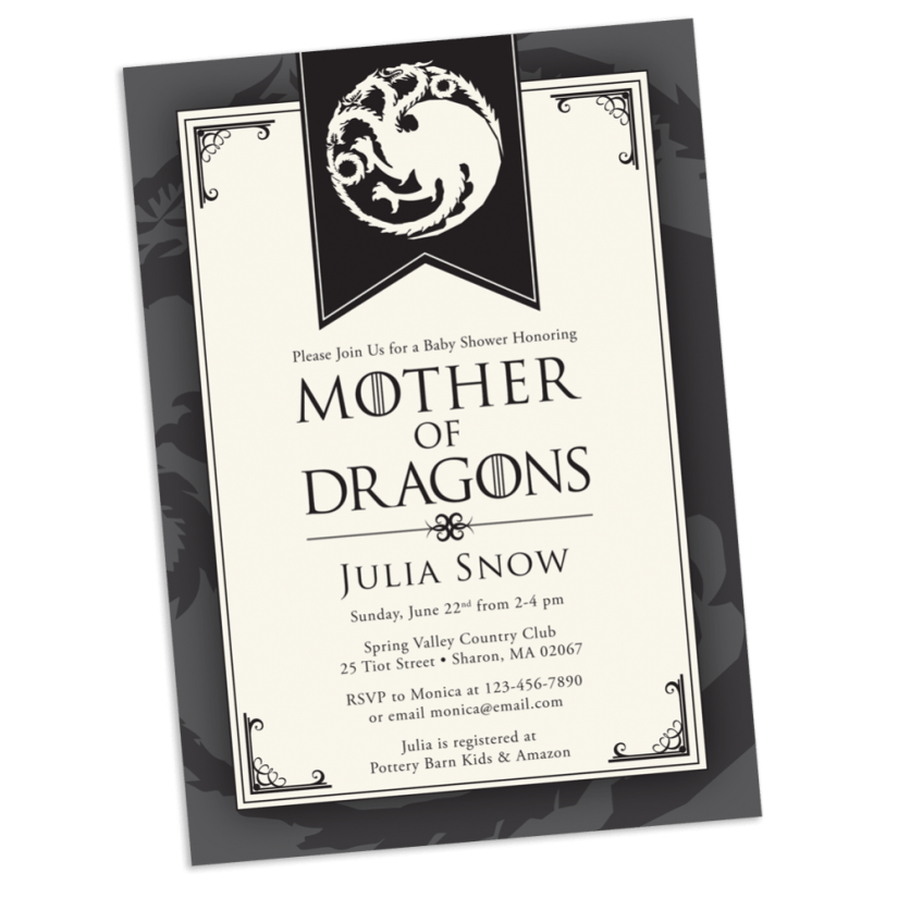 Mother of Dragons Baby Shower Invitation