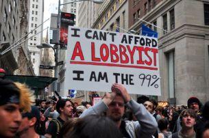 Occupy Wall Street sign I cant afford a lobbyist I am the 99 percent