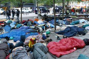 Occupy Wall Street sleeping on the street
