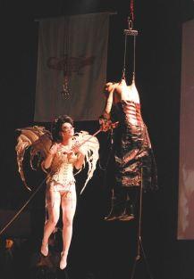 Hanging by hooks in skin Japan 5