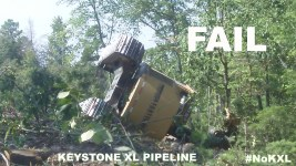 NOTE: The worker in the feller buncher was not hurt. It tipped over as they tried to clear cut more trees in the path of the Keystone XL. The blockade was not involved.