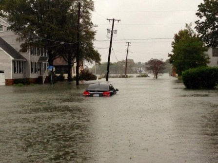 Car nearly completely submerged in Norfolk VA