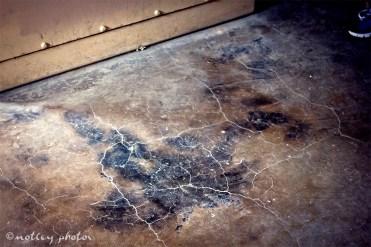 Burned body char mark.
